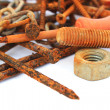 Rusty nails,nuts and bolts — Stock Photo