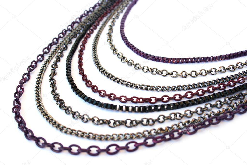 Necklace with colorful chains  isolated on white background. — Stock Photo #4350807