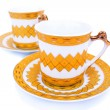 Cups with dishes — Stock Photo