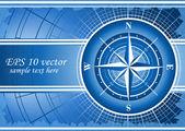 Fundo azul com compasso levantou-se. eps 10 — Foto Stock