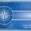 Blue background with compass rose. EPS 10 — Stock Photo