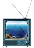 Modré retro tv s výhledem na moře — Stock fotografie