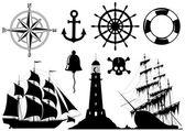 Conjunto de ícones náuticos — Foto Stock