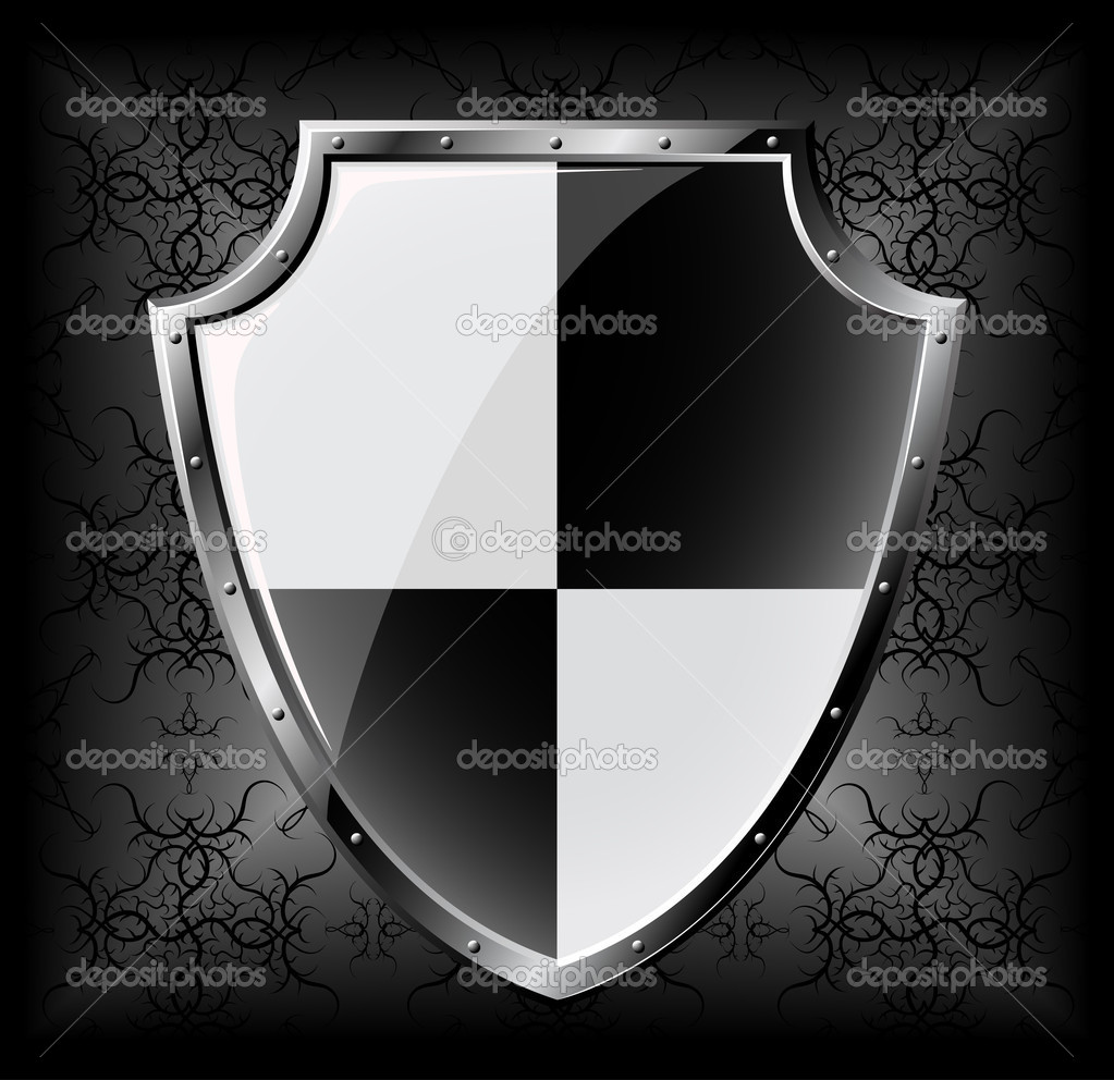 Steel shield over dark seamless background — Stock Vector #5176526