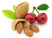 Almonds with cherry — Stock Photo