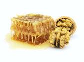 Honey and walnuts — Stock Photo