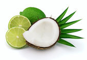 Coconut with lime — Stock Photo