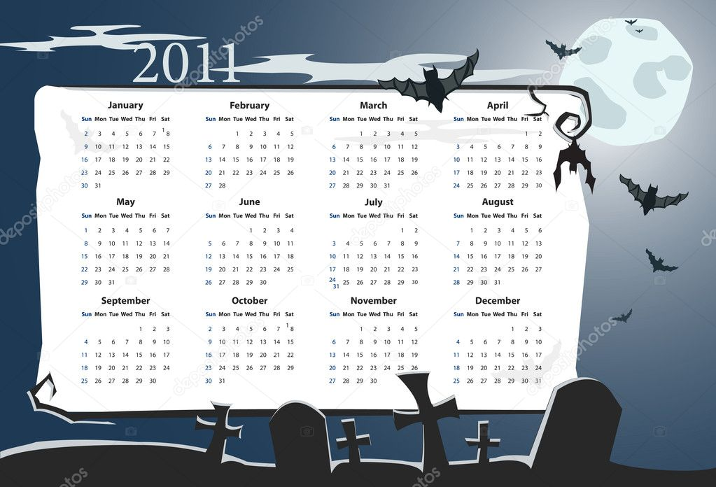 Vector American Halloween calendar 2011 with cemetery, full moon and bats (starting from Sundays) — Stock Vector #4015680