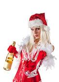Attractive Mrs. Santa with champagne — Foto de Stock