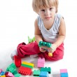 Little boy playing with colorful blocks — Stock Photo