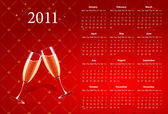 Vector red calendar 2011 with champagne — Stock Vector