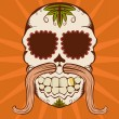 Vector illustration of orange sugar skull — Vector de stock