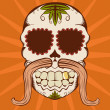 Vector illustration of orange sugar skull — Vector de stock #4487890