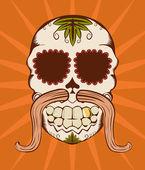 Vector illustration of orange sugar skull — Stock Vector