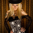 Sensual girl in fashionable corset - Foto Stock