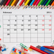 Calendar for February 2011 — Stock Photo