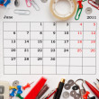Stock Photo: Calendar for June 2011
