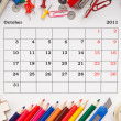 Stock Photo: Calendar for October 2011