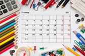 Calendar for January 2011 — Stock Photo