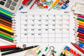 Calendar for August 2011 — Stock Photo