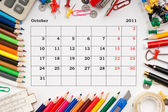 Calendar for October 2011 — Stock Photo