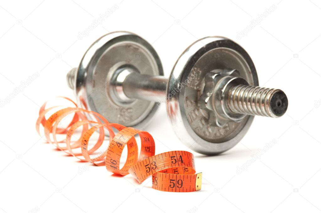 Dumbbell and measuring tape  isolated on white  — Stock Photo #3940451