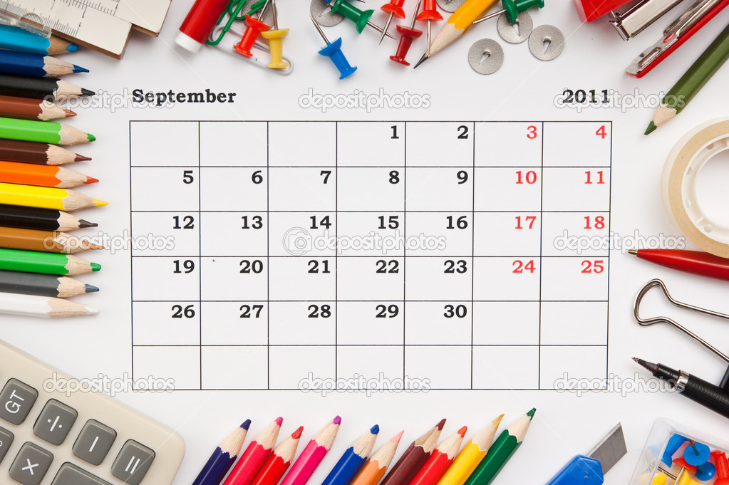 A monthly calendar September  2011. Series — Stock Photo #3940527