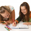 Two teenage girls paint — Stock Photo