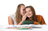 Two teenage girls gossiping — Stock Photo