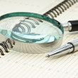 Pen and magnifying glass — Stock Photo