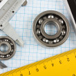 Setsquare and calliper with bearing — Stock Photo #4069012