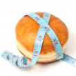 Bun for the hamburger with tape measure — Stock Photo