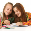 Two teenage girls smiling and reading book - Stock Photo