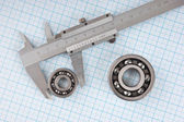 Technical drawing and callipers with bearing — Stock Photo