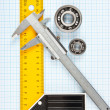 Setsquare and calliper with bearing — Stock Photo