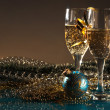 Royalty-Free Stock Photo: Christmas decoration and glasses of wine
