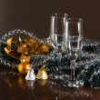 Royalty-Free Stock Photo: Christmas decoration and glasses