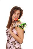 Młoda dziewczyna z maska do nurkowania — Zdjęcie stockowe