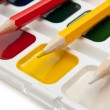 Colored pencils and watercolor paints — Stock Photo #4622025