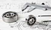 Technical drawing and calliper — Stock Photo
