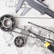Technical drawing and callipers - Stock Photo