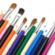 Colored pencils and  brushes — Stockfoto