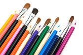 Pinceles y lápices de colores — Foto de Stock