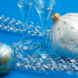 Christmas decoration and glasses — Stok fotoğraf