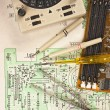Multimeter on  wiring diagram — Stock Photo