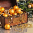 Christmas decoration in chest — Stock Photo #4929056
