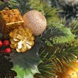 Christmas decoration in chest — Stockfoto