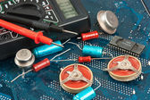 Old electronic components — Stock Photo