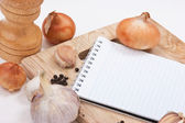 Notebook for culinary recipes — Stok fotoğraf