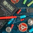 Old electronic components - Foto Stock